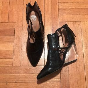 Patent leather Lucite heel
